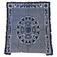 19Thc Blue & White Woven Jacquard Coverlet From Pennsylvania