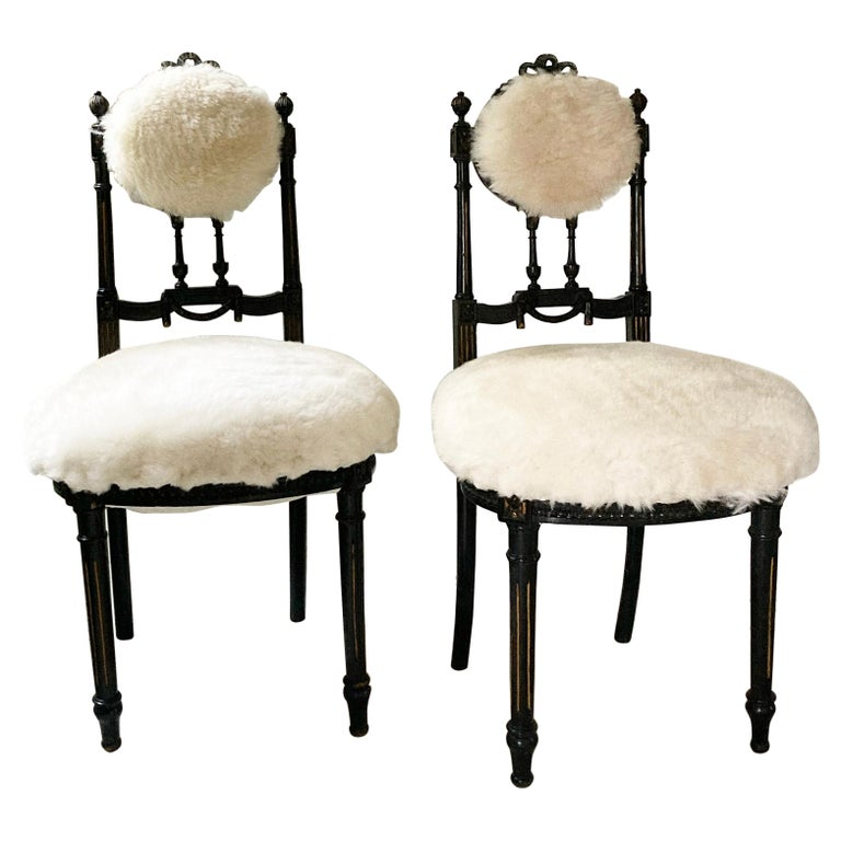 Fine Pair of Decorative Black Chairs with White Wool , Sicily Italy 1920's For Sale