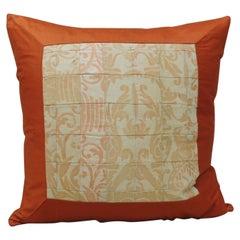 "Vintage Patchwork Orange Fortuny ""Uccelli"" Square Decorative Pillow"