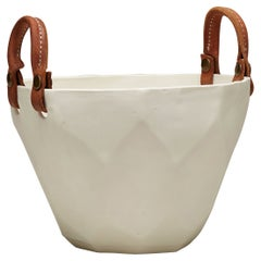 Handcrafted Faceted Porcelain Ice Bucket Leather Handles