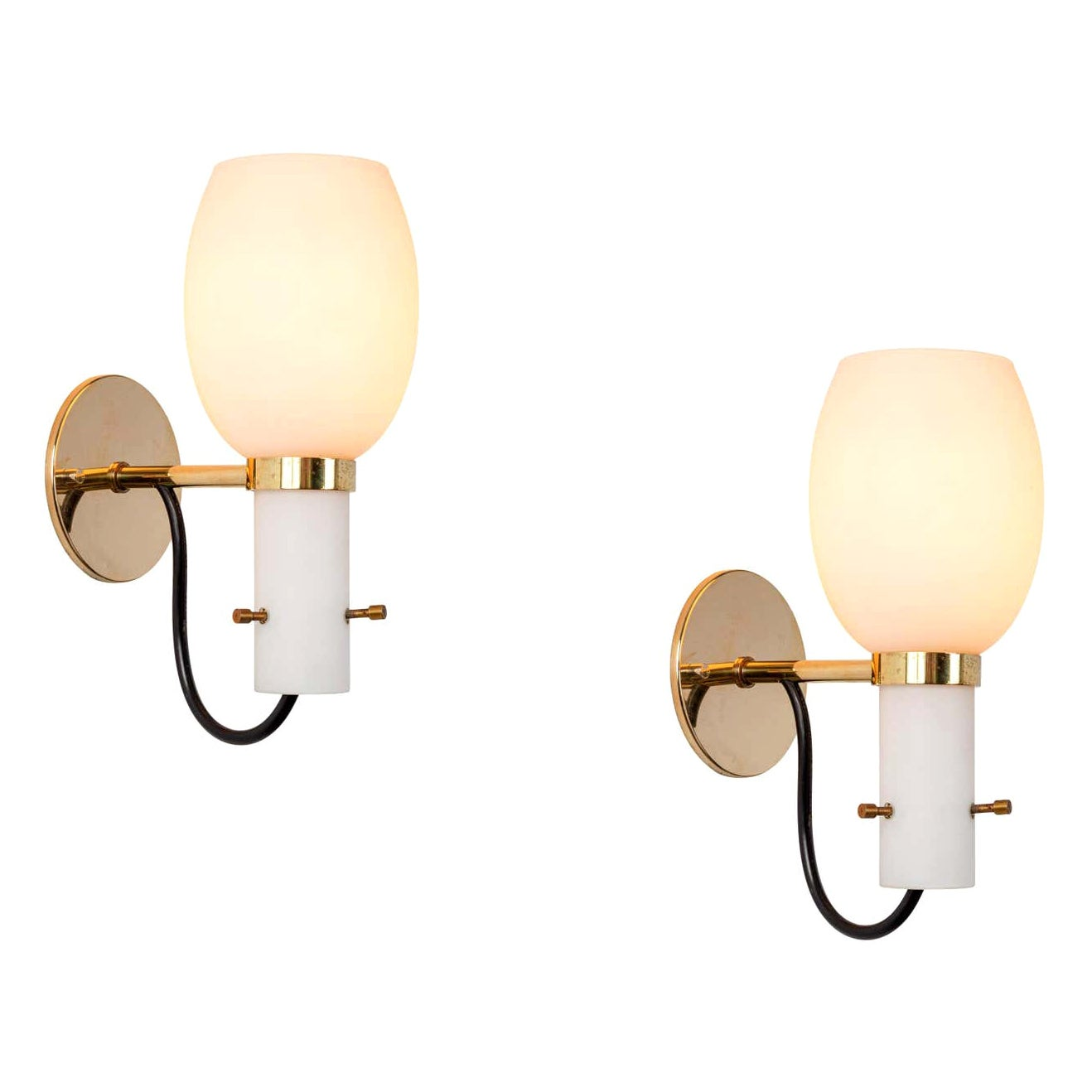 1950s Italian Brass and Glass Sconces Attributed to Stilnovo