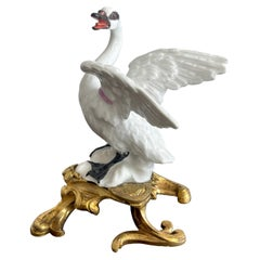 18th C Meissen Ormolu Mounted Swan with Harness, Modeled by J.J. Kandler