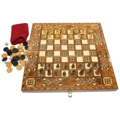 Vintage Midcentury Large Complete Inlaid Mosaic Backgammon and Chess Game