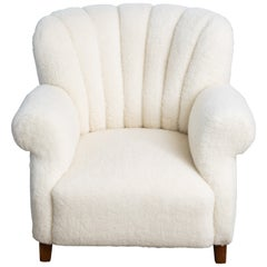Fritz Hansen Model 1518 Large Size Club Chair in Ivory Lambswool, Denmark, 1940s