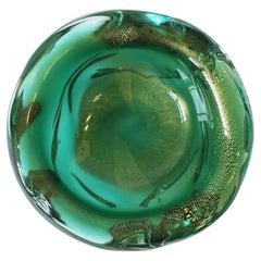 Italian Murano Emerald Green and Gold Art Glass Bowl