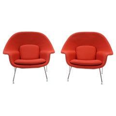 Pair Saarinen Womb Chairs for Knoll in Red with Chrome Frames, Ready to Use