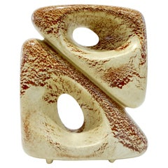 1960 Bertoncello Italian Vintage Double Art Sculpture Ceramic Beige Cubist Vase