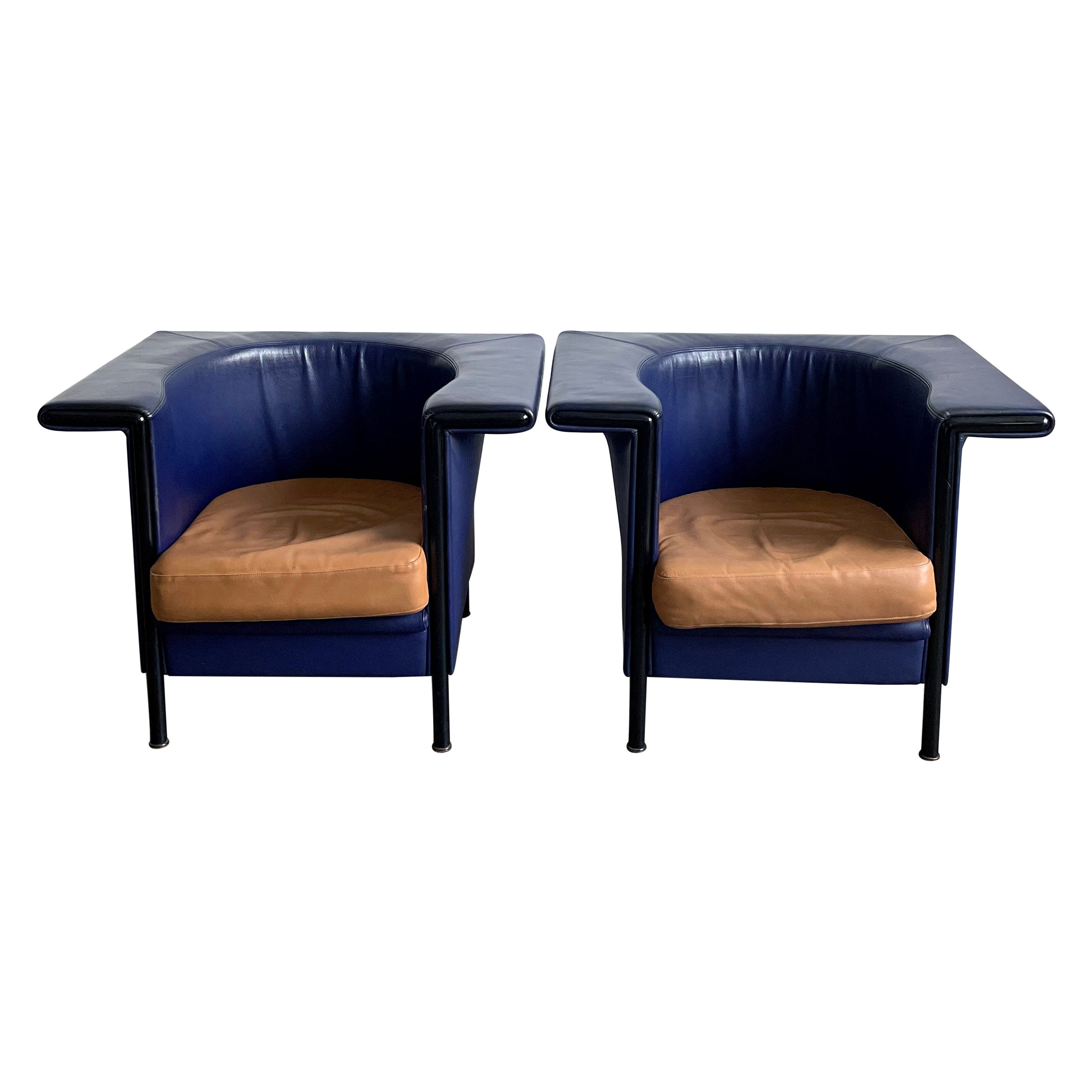 """Set of 2 """"Hockey"""" Leather Armchairs, by Antonio Citterio for Moroso Italy 1980s"""