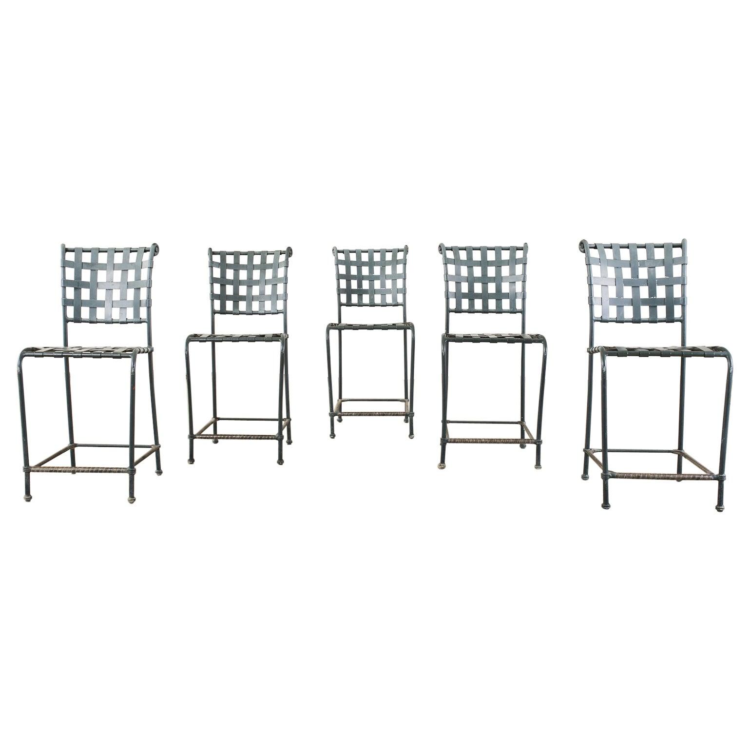 Set of Five Brown Jordan Florentine Aluminum Counter Barstools