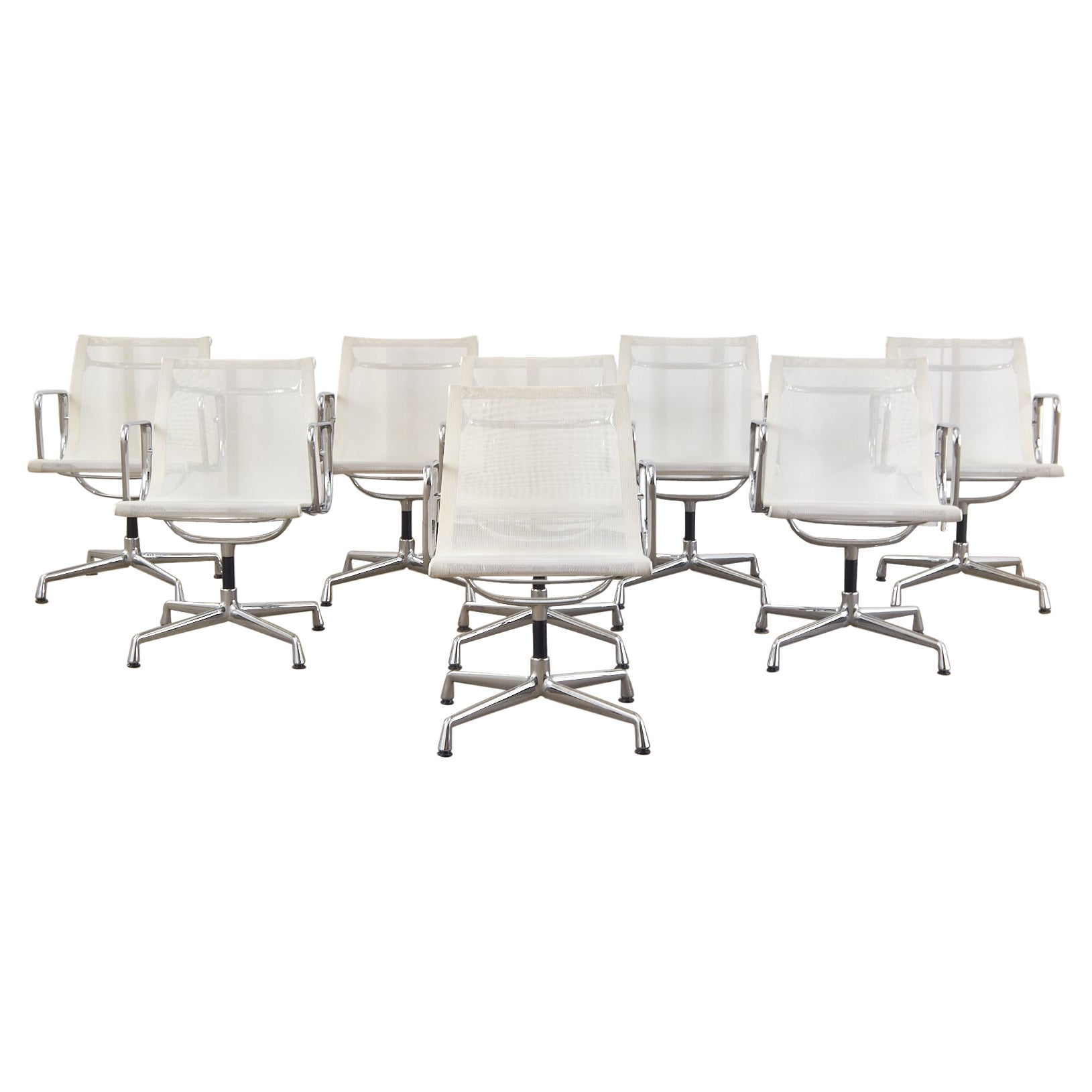 Set of Eight Eames Mid-Century Chrome Armchairs by Vitra