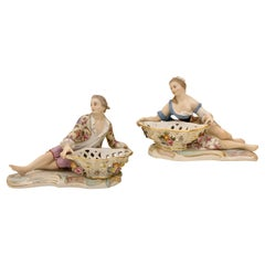 Pair of Meissen Porcelain Figural Sweet Meat Dishes Antique, Circa 19th Century