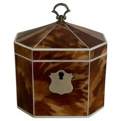 Georgian Miniature Tent-Top Blonde Tortoiseshell Tea Caddy, of Decagonal Form