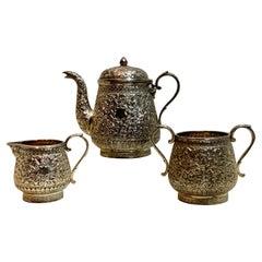 Fine Antique Indian Kutch Silver Bachelor 3-Piece Tea Set C. 1900/ 590 G