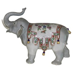 Very Nice, Early Carl Thieme Dresden Porcelain Elephant of Large Size