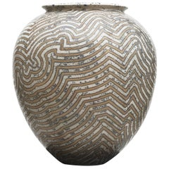 Per Weiss Colossal Stoneware Floor Vase with Geometric Pattern
