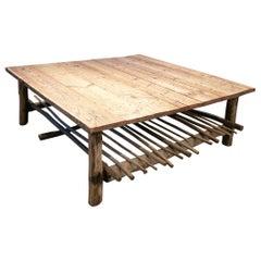 1980s Spanish Handmade Wooden Coffee Table