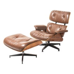 3rd Gen 1976 Eames Lounge Chair and Ottoman in Brown Leather Fully Restored
