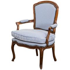 Armchair Rococo Swedish 18th Century Blue and White Fabric Sweden