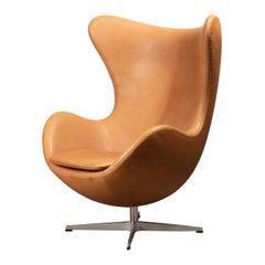 Arne Jacobsen Egg Chair in Patined Walnut Grace Leather by Fitz Hansen, Denmark
