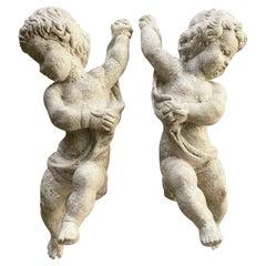 Pair of Italian Cherub Sculptures 19th Century Baroque Style White Putti