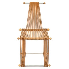 Rare Wooden Vintage Slatted Popstical Stick Design Chair, Prototype, 1980s