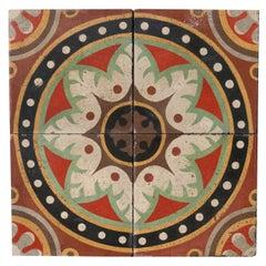 Reclaimed Encaustic Floor Tiles with Pattern