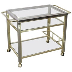 Bar Cart in Chrome and Brass in the Style of Willy Rizzo