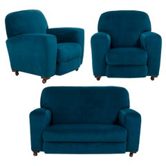 1930s Art Deco Curved Blue Teal Velvet Sofa and Two Armchairs, Set of 3