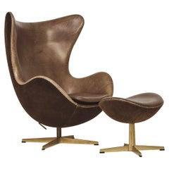 Arne Jacobsen Golden Egg Chair and Ottoman