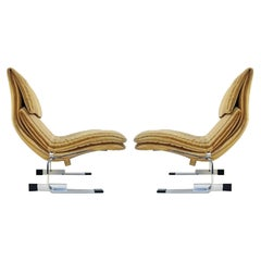 Pair of Mid-Century Lounge Chairs by Giovanni Offredi for Saporiti, 1970s