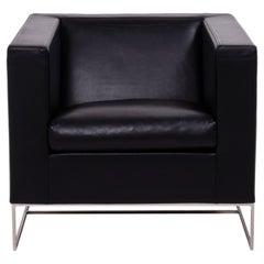 Minotti Klee Black Leather Armchair by Rodolfo Dordoni