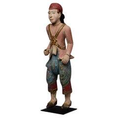 19th Century, Mandalay, Antique Burmese Wooden Standing Figure