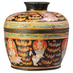 Antique Ca 1900 Chinese Porcelain Lidded Jar Bencharong Thailand Enamels