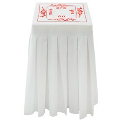 """""""Melatonin 'Are"""" Hand-Embroidered White and Red Cotton and Silk Side Table"""