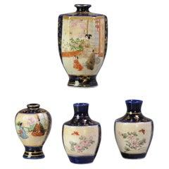 Antique 19/20th C Japanese Kyo Satsuma Miniature Vases Japan Blue