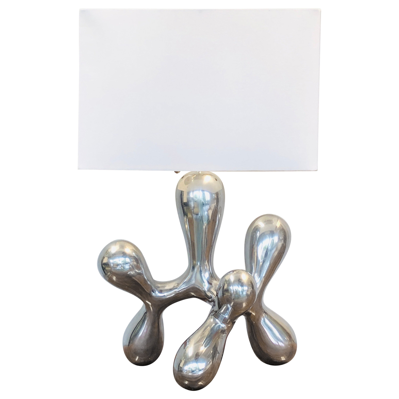Modern Biomorphic Polished Metal Sculptural Table Lamp