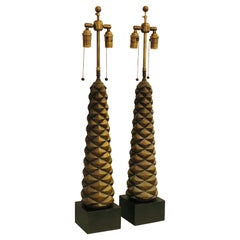 Pair of Mid Century Carved Wood Burnished Gilt Pair of Table Lamps, 1940s
