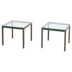 Mid Century Solid Bronze and Glass Side Tables, 1970