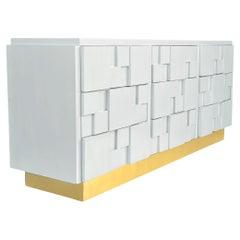 Mid-Century Modern Triple Brutalist Dresser or Credenza in White with Brass Base