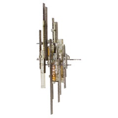 Very Large Brutalist Sconce by Albano Poli for Poliarte, 1970s