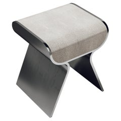 Shagreen Stool with Polished Steel Accents by Kifu Paris