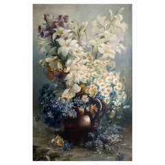 """19th Century Oil on Canvas from Desliens Sisters Cécile and Marie """"Bouquet"""""""