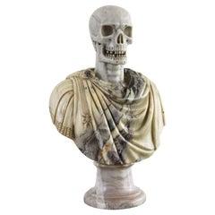 Italian Marble Bust Vanitas / Memento Mori 19th Century Carved Sculpture Italy