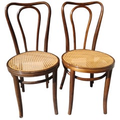 Pair of Antique Bentwood with Caned Seats Dining Cafe Chairs
