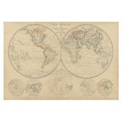 Antique Map of The World in Hemispheres by W. G. Blackie, 1859