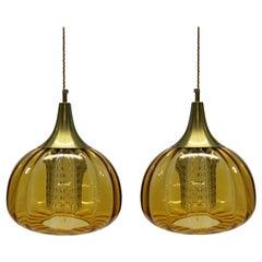 Pair of Amber Orrefors Pendant Lights