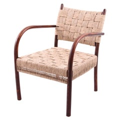 K. Scröder Armchair, Stained Beech and Woven Seagrass, Denmark, 1930s