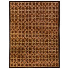 Modern Tibetan Ningxia Style Handmade Geometric Pattern Brown Wool and Silk Rug