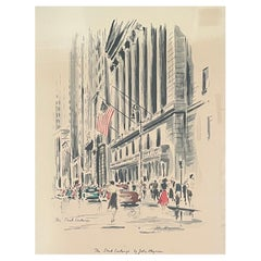 Mid-Century Cityscape Lithograph of The New York Stock Exchange by John Haymson