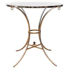 Maison Jansen Style Chromed Metal Gueridon Side Table